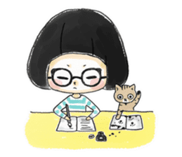 Mr.Cats and Maid girl loosely sticker sticker #313491