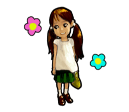 girl and cat sticker #315547