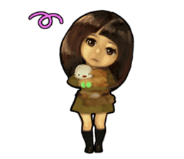 girl and cat sticker #315554