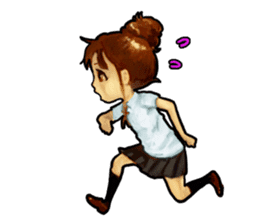 girl and cat sticker #315556