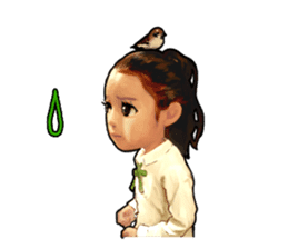 girl and cat sticker #315558