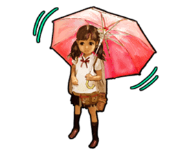 girl and cat sticker #315566