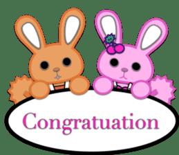 Rabbit Brown & Cherry Pink sticker #329588