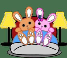 Rabbit Brown & Cherry Pink sticker #329590