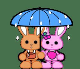 Rabbit Brown & Cherry Pink sticker #329593