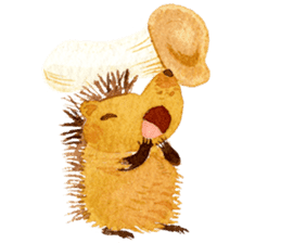Hedgehog in the forest of mushroom sticker #372072