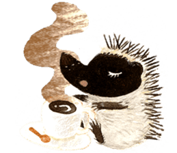 Hedgehog in the forest of mushroom sticker #372080