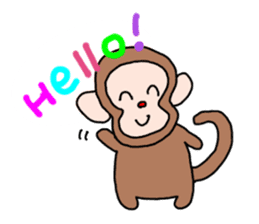 Beans lovely and cute monkey in English sticker #387185