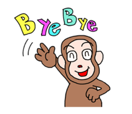 Beans lovely and cute monkey in English sticker #387188