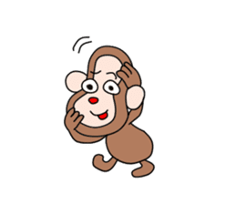 Beans lovely and cute monkey in English sticker #387190