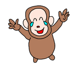 Beans lovely and cute monkey in English sticker #387191