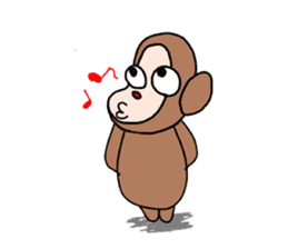 Beans lovely and cute monkey in English sticker #387192