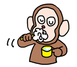Beans lovely and cute monkey in English sticker #387196