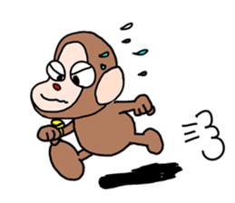 Beans lovely and cute monkey in English sticker #387200