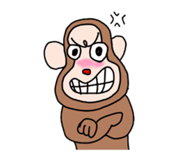 Beans lovely and cute monkey in English sticker #387201