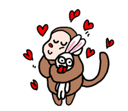 Beans lovely and cute monkey in English sticker #387202
