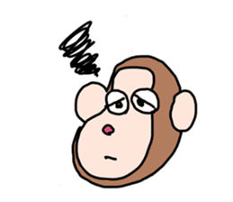 Beans lovely and cute monkey in English sticker #387210