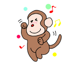 Beans lovely and cute monkey in English sticker #387211