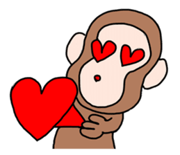 Beans lovely and cute monkey in English sticker #387215