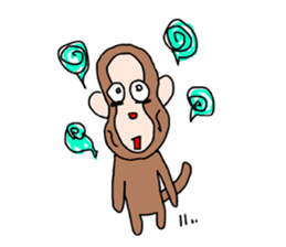 Beans lovely and cute monkey in English sticker #387217