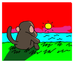 Beans lovely and cute monkey in English sticker #387220