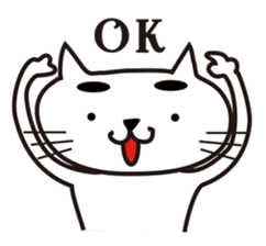White cat with eyebrows sticker #395193
