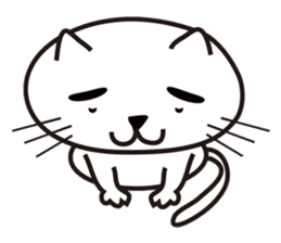 White cat with eyebrows sticker #395201