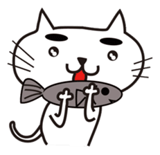 White cat with eyebrows sticker #395206