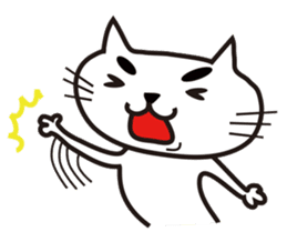 White cat with eyebrows sticker #395207