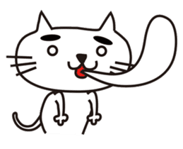 White cat with eyebrows sticker #395221