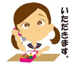 Schoolgirl everyday school life sticker #401271