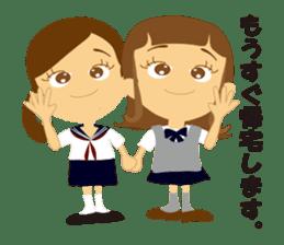 Schoolgirl everyday school life sticker #401272