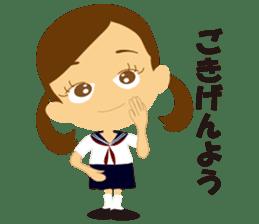Schoolgirl everyday school life sticker #401275