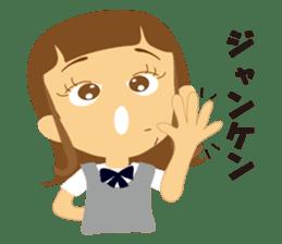 Schoolgirl everyday school life sticker #401279