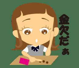 Schoolgirl everyday school life sticker #401293