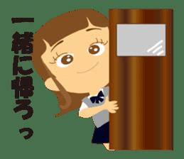 Schoolgirl everyday school life sticker #401296