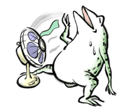 anthropomorphic rabbits and frogs sticker #402186