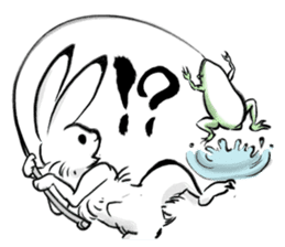 anthropomorphic rabbits and frogs sticker #402192