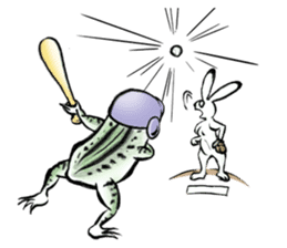 anthropomorphic rabbits and frogs sticker #402202