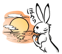 anthropomorphic rabbits and frogs sticker #402203