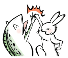 anthropomorphic rabbits and frogs sticker #402210