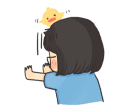 Glassed girl & Yellow duck sticker #404665