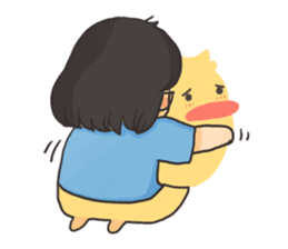 Glassed girl & Yellow duck sticker #404666