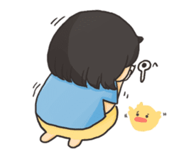 Glassed girl & Yellow duck sticker #404668