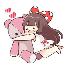 Ribbon Girl's Stickers