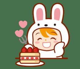 Girl wearing a rabbit sticker #455385
