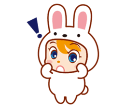 Girl wearing a rabbit sticker #455387