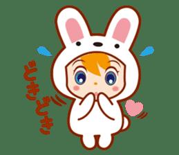 Girl wearing a rabbit sticker #455389