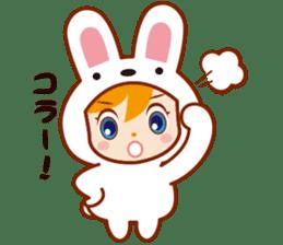 Girl wearing a rabbit sticker #455390