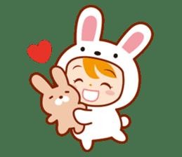 Girl wearing a rabbit sticker #455392